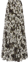 Erdem Sigrid Tiered Printed Silk-georgette Maxi Skirt - Black