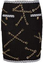 Moschino boucle chain trim skirt - women - Cotton/Polyester/Spandex/Elastane - 42