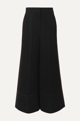 Roksanda Hasani Satin-trimmed Cady And Cotton Wide-leg Pants - Black