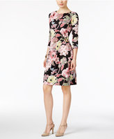 NY Collection Floral-Print Ruched Sheath Dress