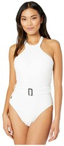 Polo Ralph Lauren Ribbed Solids High Neck Belted Mio One-Piece (White) Women's Swimsuits One Piece