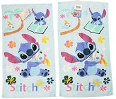 Disney's Stitch and Scrump Sky Blue Hand Towels With Floral Graphic Design (2pc)