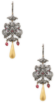 Amrapali Diamond, Emerald and Tourmaline Drop Earrings