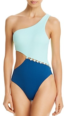 Red Carter Asymmetric Maillot One Piece Swimsuit