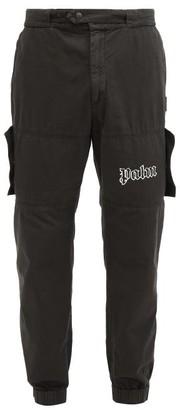 Palm Angels Logo-print Denim Cargo Trousers - Black