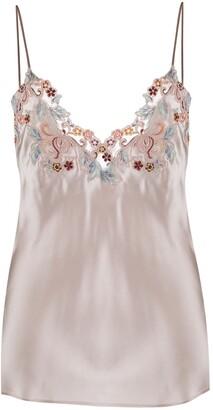 La Perla Floral Embroidered Camisole Silk Top