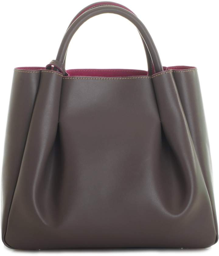 Alexandra de Curtis Ashley Midi Ruched Tote Taupe