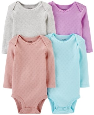 Carter's Baby Girls 4-Pk. Printed Cotton Pointelle Hearts Bodysuits