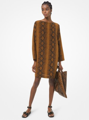 Michael Kors Collection Python Silk Crepe De Chine Dress