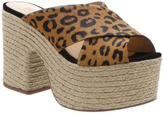 Schutz Lora Genuine Calf Hair Platform Sandal