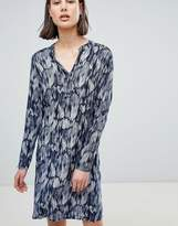 Ichi Printed Collarless Shirt Dress