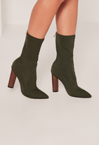 Missguided Khaki Neoprene Wooden Heeled Boots