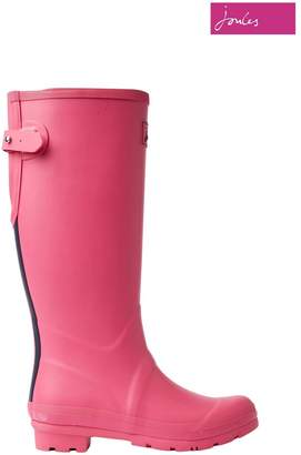 Joules Womens Pink Field Welly Matt With Adjustable Back Gusset - Pink