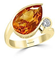 Bloomingdale's Pear-Shaped Citrine & Diamond Ring in 14K Yellow Gold - 100% Exclusive