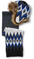 Classic Boys Chunky Knit Fair Isle Trapper & Scarf Set-Bavarian Creme