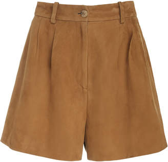 Nili Lotan Roxana High-Rise Suede Shorts