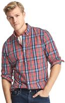 True wash plaid slim fit shirt