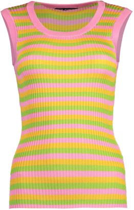 Dolce & Gabbana Striped Ribbed Racerback Tank