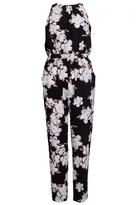 Quiz Black Crepe Floral Print Jumpsuit