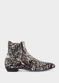 Women's Black And White 'Hair On Calf' 'Nicks' Chelsea Boots