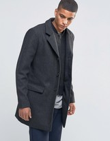 Selected Herringbone Overcoat with Detachable Lining