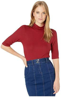 Michael Stars 2x1 Rib Gabriella Elbow Sleeve Turtleneck (Redwood) Women's Clothing