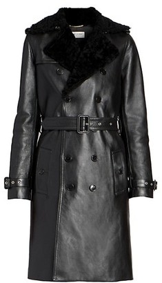Saint Laurent Shearling & Leather Trench Coat
