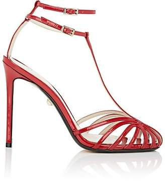 ALEVÌ Milano Women's Stella Patent Leather T-Strap Sandals - Red