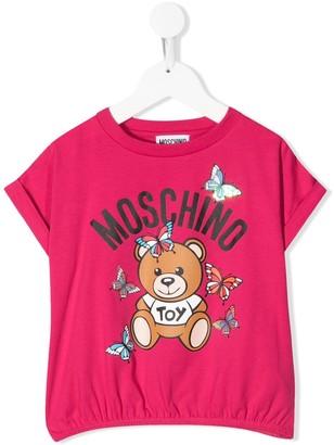MOSCHINO BAMBINO logo bear print T-shirt