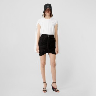 Burberry Ruched Jersey Mini Skirt