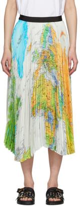 Sacai Multicolor World Map Pleated Skirt