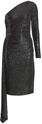 Teri Jon By Rickie Freeman One-Shoulder Knit Sequin Bodycon Dress