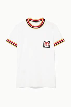 Miu Miu Appliqued Striped Cotton-jersey T-shirt - White