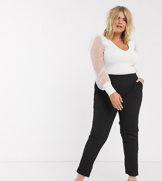 Simply Be tapered pants in black