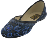 Navy Floral Beaded Flat