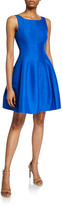 Halston Bateau-Neck Sleeveless Fit-&-Flare Silk Faille Dress