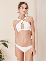 For Love & Lemons Swim La Playa Ruffle Top in Ivory
