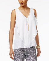 Thalia Sodi Sleeveless Ruffled Necklace Blouse, Created for Macy's