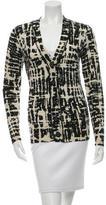 Tory Burch Wool Abstract Print Cardigan