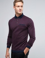 Ted Baker Longsleeve Polo With Contrast Collar