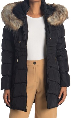Laundry by Shelli Segal Faux Fur Trimmed Hooded Puffer Jacket