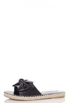 Quiz Black PU Bow Slipper