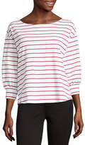Liz Claiborne 3/4 Sleeve Round Neck Stripe T-Shirt-Womens