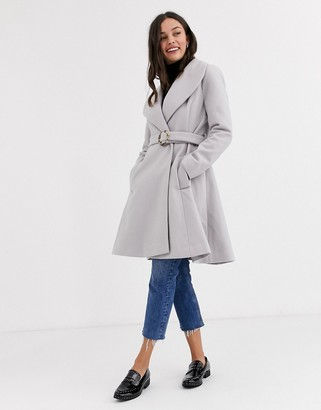 ASOS DESIGN longline belted skater coat in gray