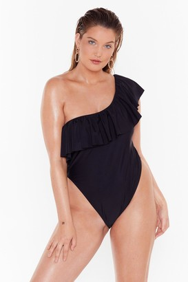 Nasty Gal Womens Hey Beach One Shoulder Plus High-Leg Silhouette - black - 16