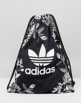 adidas Farm Print Drawstring Backpack In Monochrome Floral