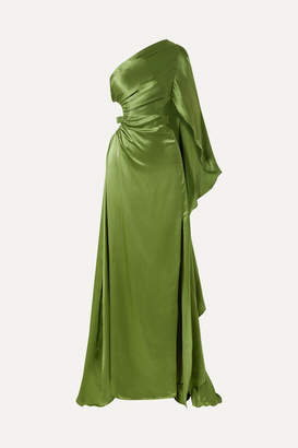 Cult Gaia Cosette One-shoulder Cutout Silk-satin Gown - Leaf green