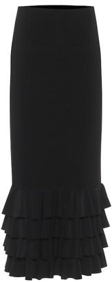 Norma Kamali Ruffle-trimmed stretch-jersey midi skirt
