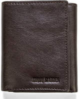 Steve Madden Brown Smooth Grain Trifold Leather Wallet