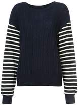 Y's cable knit striped jumper